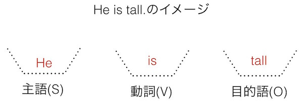 英語の文型: He is tall